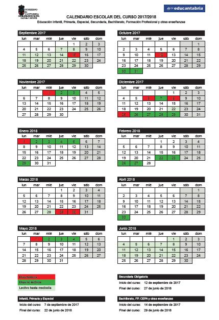 Calendario Escolar 18 19 Cantabria.Calendario Escolar 17 18